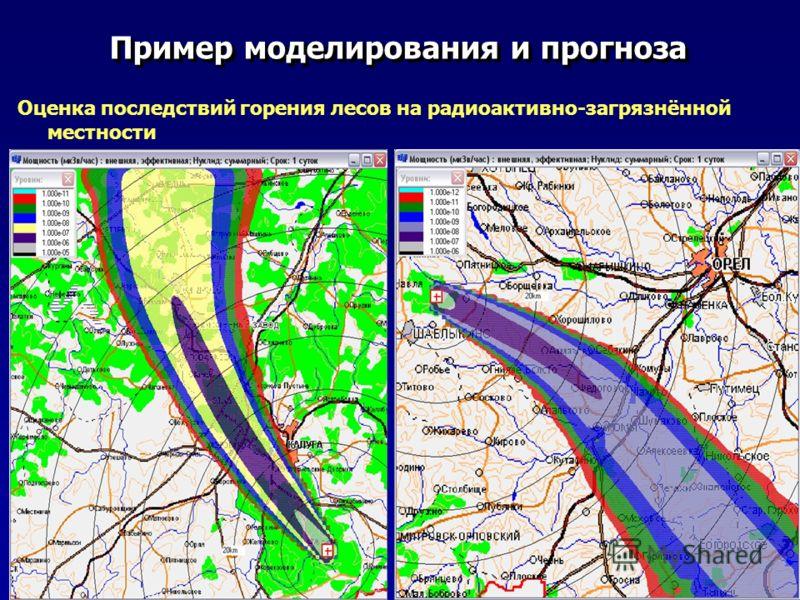 Пример моделирования и прогноза Оценка последствий горения лесов на радиоактивно-загрязнённой местности