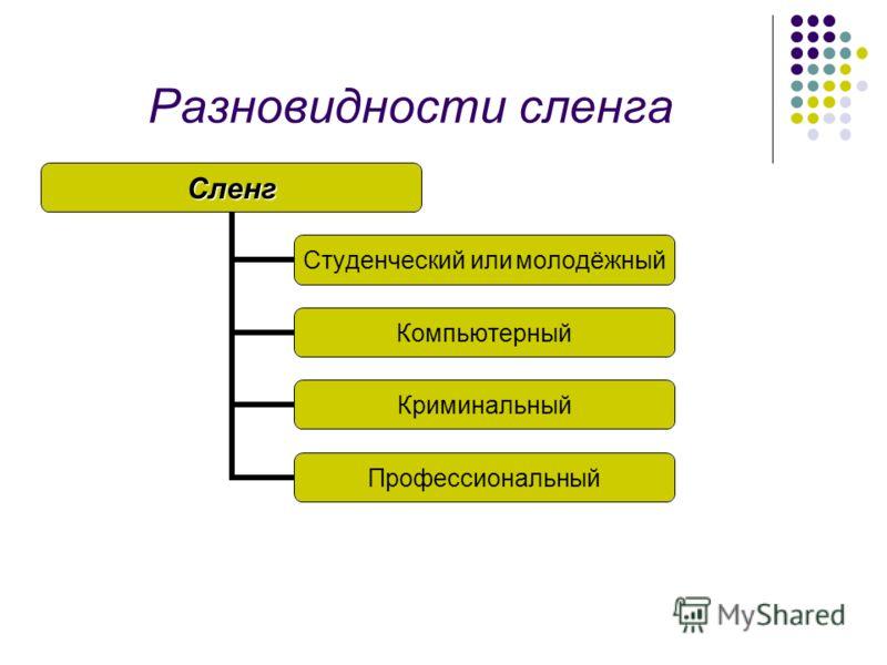 Разновидности сленгаСленг Студенческий или молодёжный Компьютерный Криминальный Профессиональный
