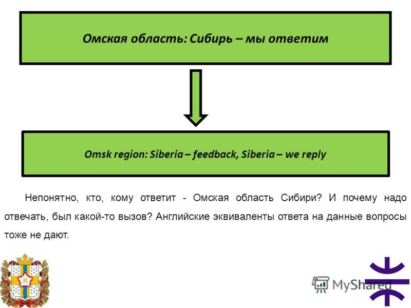 Омская область: Сибирь – мы ответим Omsk region: Siberia – feedback, Siberia – we reply Непонятно, кто, кому ответит - Омская область Сибири? И почему надо отвечать, был какой-то вызов? Английские эквиваленты ответа на данные вопросы тоже не дают.