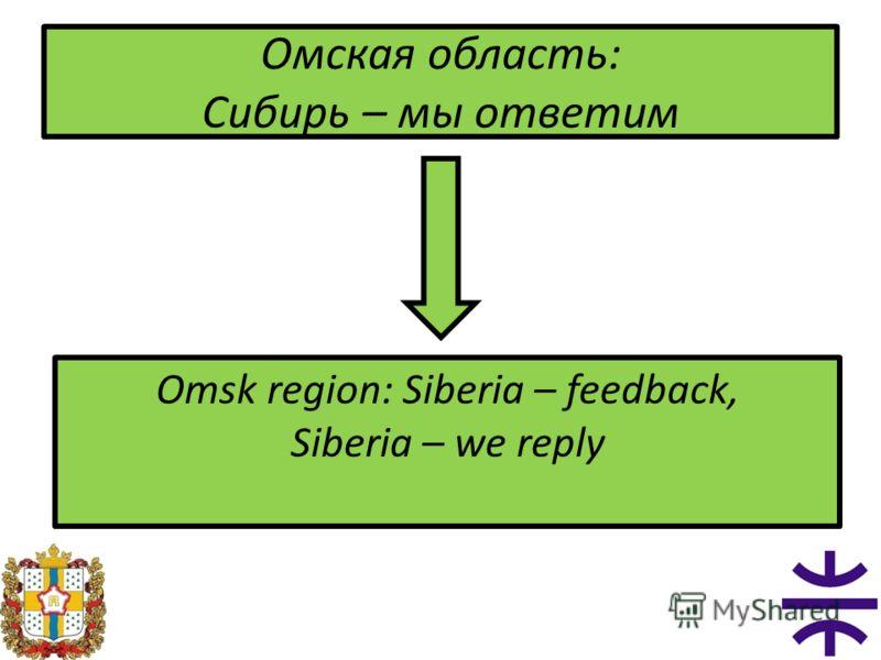 Омская область: Сибирь – мы ответим Omsk region: Siberia – feedback, Siberia – we reply