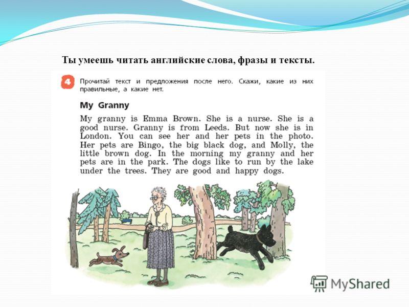 Ты умеешь читать английские слова, фразы и тексты.