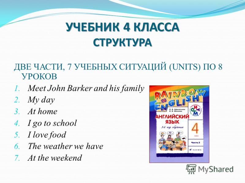 УЧЕБНИК 4 КЛАССА СТРУКТУРА ДВЕ ЧАСТИ, 7 УЧЕБНЫХ СИТУАЦИЙ (UNITS) ПО 8 УРОКОВ 1. Meet John Barker and his family 2. My day 3. At home 4. I go to school 5. I love food 6. The weather we have 7. At the weekend
