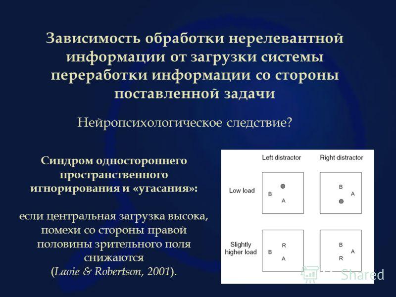 Зависимость обработки нерелевантной информации от загрузки системы переработки информации со стороны поставленной задачи Синдром одностороннего пространственного игнорирования и «угасания»: если центральная загрузка высока, помехи со стороны правой п