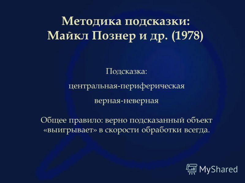 Методика подсказки: Майкл Познер и др. (1978) Подсказка: центральная-периферическая верная-неверная Общее правило: верно подсказанный объект «выигрывает» в скорости обработки всегда.