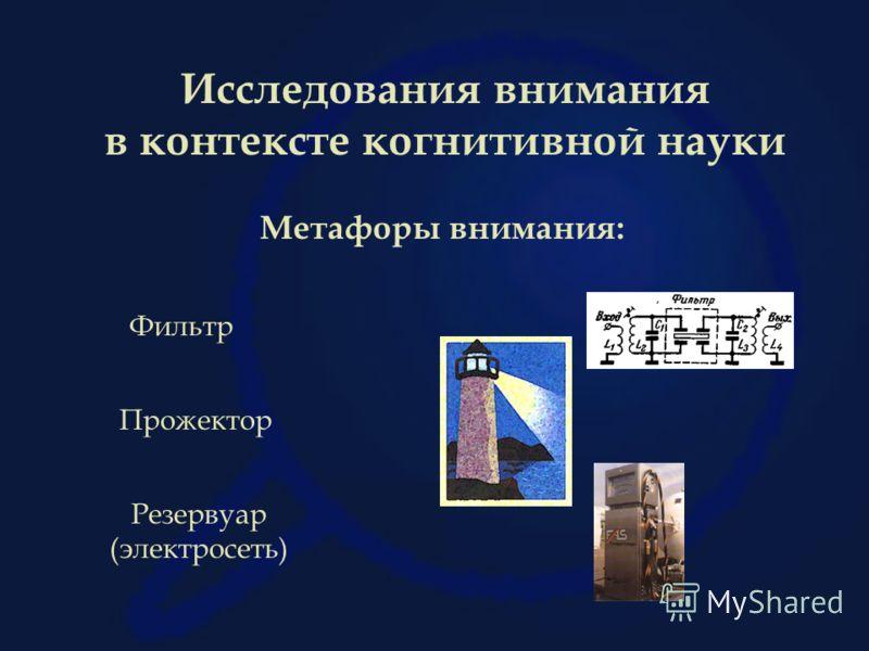 Исследования внимания в контексте когнитивной науки Метафоры внимания: Фильтр Прожектор Резервуар (электросеть)