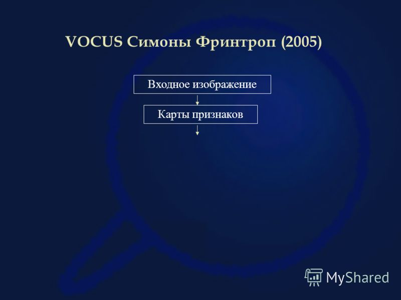VOCUS Симоны Фринтроп (2005) Входное изображение Карты признаков