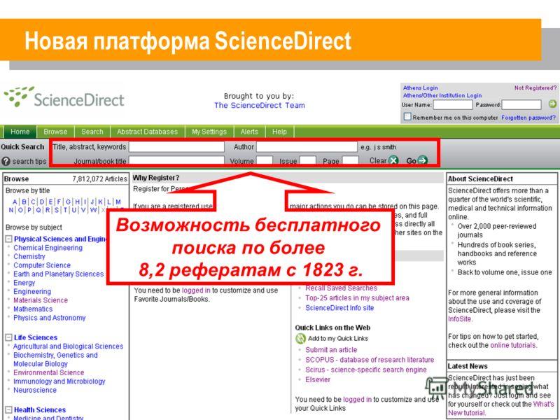 Новая платформа ScienceDirect Возможность бесплатного поиска по более 8,2 рефератам с 1823 г.