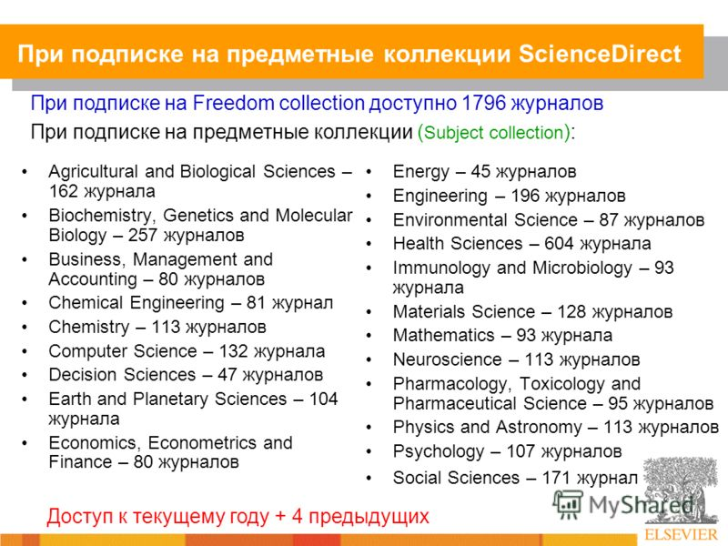 При подписке на предметные коллекции ScienceDirect Agricultural and Biological Sciences – 162 журнала Biochemistry, Genetics and Molecular Biology – 257 журналов Business, Management and Accounting – 80 журналов Chemical Engineering – 81 журнал Chemi