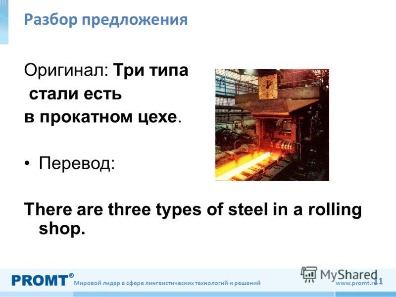 Мировой лидер в сфере лингвистических технологий и решений www.promt.ru 11 Разбор предложения Оригинал: Три типа стали есть в прокатном цехе. Перевод: There are three types of steel in a rolling shop.