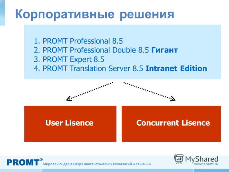 Мировой лидер в сфере лингвистических технологий и решений www.promt.ru 1. PROMT Professional 8.5 2. PROMT Professional Double 8.5 Гигант 3. PROMT Expert 8.5 4. PROMT Translation Server 8.5 Intranet Edition User LisenceConcurrent Lisence Корпоративны