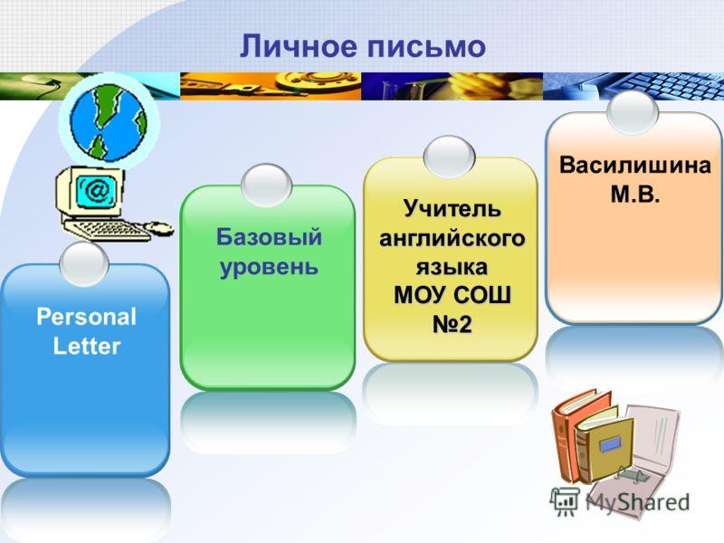 Личное письмо Personal Letter Базовый уровень Учитель английского языка МОУ СОШ 2 Василишина М.В.