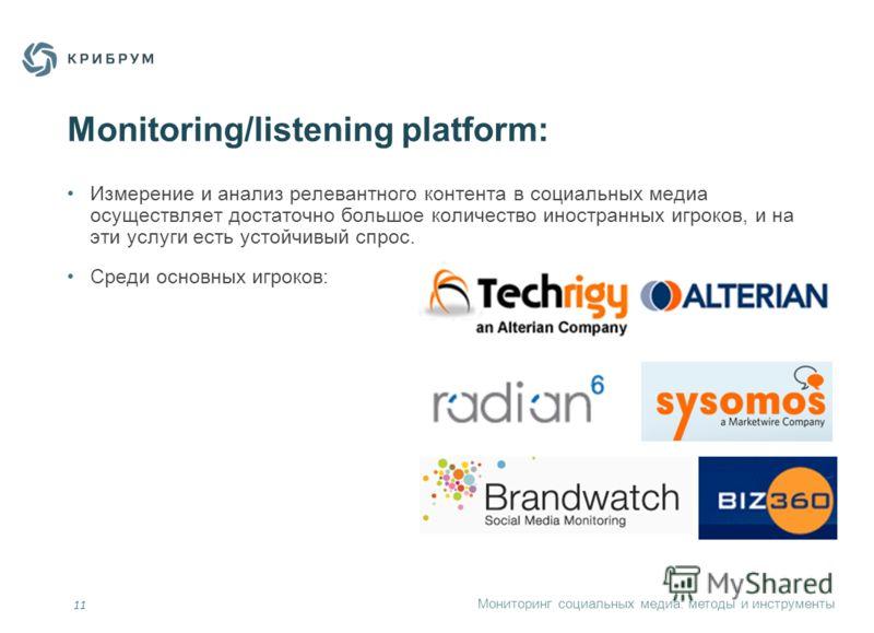 Мониторинг социальных медиа: методы и инструменты 11 Monitoring/listening platform: Измерение и анализ релевантного контента в социальных медиа осуществляет достаточно большое количество иностранных игроков, и на эти услуги есть устойчивый спрос. Сре