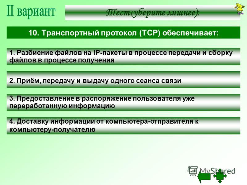 1. Разбиение файлов на IP-пакеты в процессе передачи и сборку файлов в процессе получения 2. Приём, передачу и выдачу одного сеанса связи 3. Предоставление в распоряжение пользователя уже переработанную информацию 4. Доставку информации от компьютера