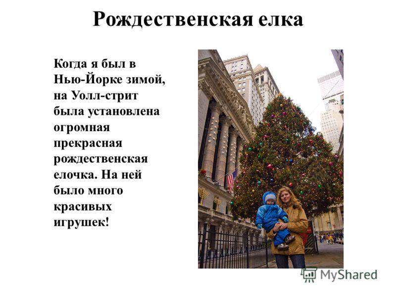 Рождественская елка Когда я был в Нью-Йорке зимой, на Уолл-стрит была установлена огромная прекрасная рождественская елочка. На ней было много красивых игрушек!
