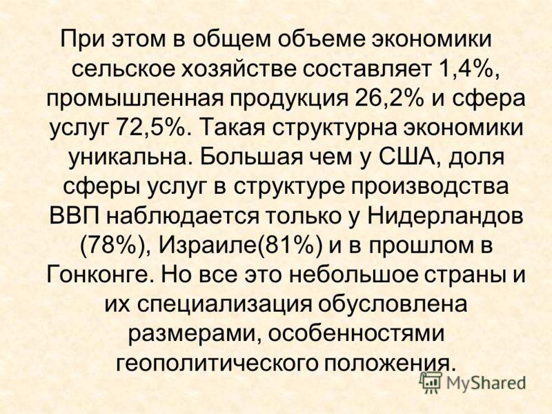 При этом в общем объеме экономики сельское хозяйстве составляет 1,4%, промышленная продукция 26,2% и сфера услуг 72,5%. Такая структурна экономики уникальна. Большая чем у США, доля сферы услуг в структуре производства ВВП наблюдается только у Нидерл