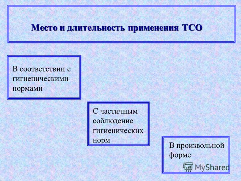 Место и длительность применения ТСО В соответствии с гигиеническими нормами С частичным соблюдение гигиенических норм В произвольной форме
