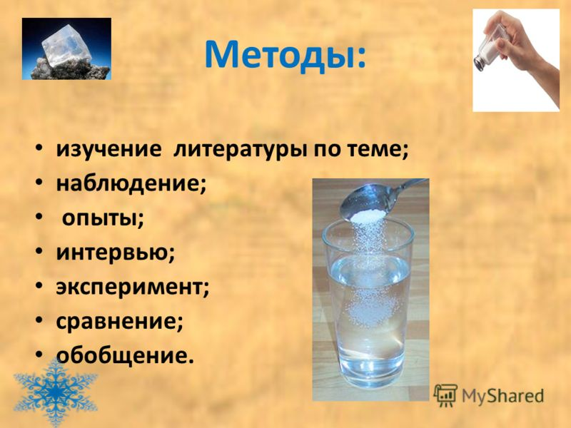 Методы: изучение литературы по теме; наблюдение; опыты; интервью; эксперимент; сравнение; обобщение.