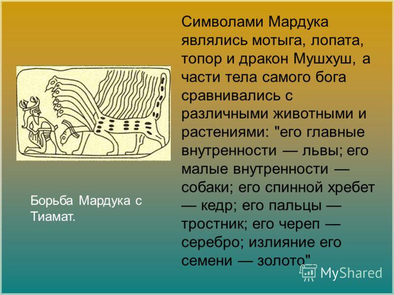 Борьба Мардука с Тиамат. Символами Мардука являлись мотыга, лопата, топор и дракон Мушхуш, а части тела самого бога сравнивались с различными животными и растениями:
