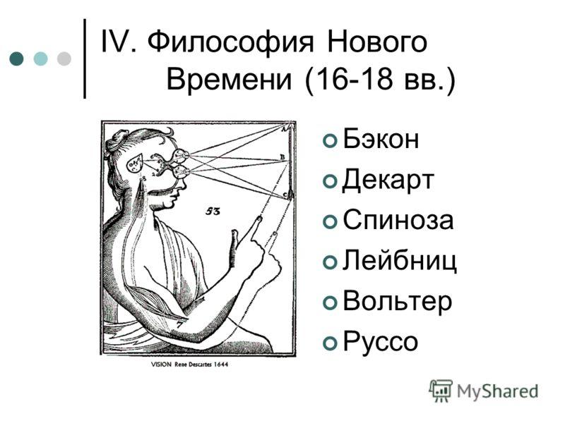 IV. Философия Нового Времени (16-18 вв.) Бэкон Декарт Спиноза Лейбниц Вольтер Руссо