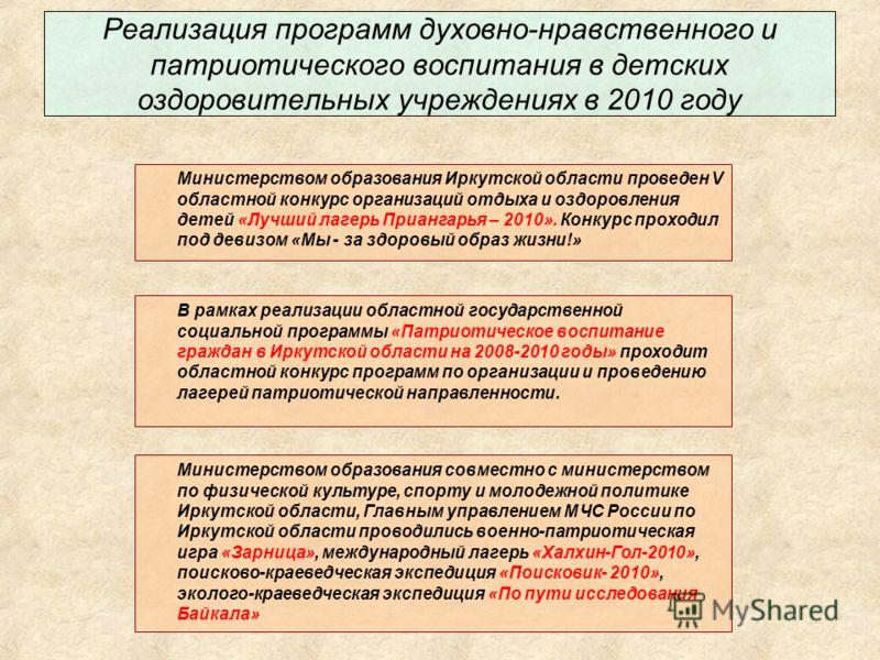 Реализация программ духовно-нравственного и патриотического воспитания в детских оздоровительных учреждениях в 2010 году Министерством образования совместно с министерством по физической культуре, спорту и молодежной политике Иркутской области, Главн