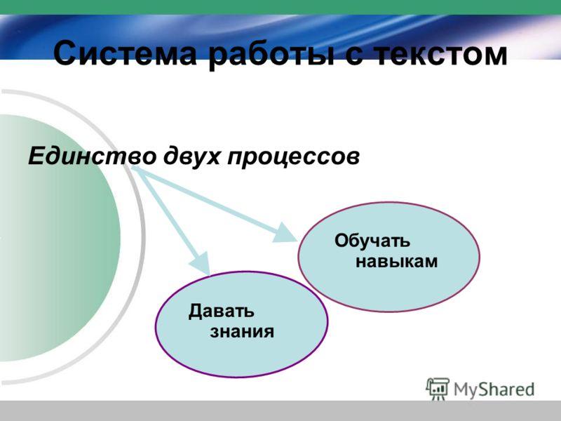 Система работы с текстом Единство двух процессов Давать знания Обучать навыкам