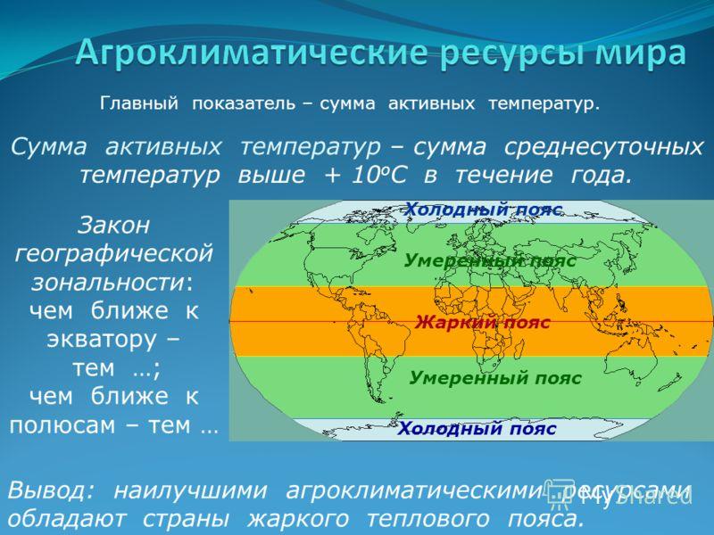 Главный показатель – сумма активных температур. Сумма активных температур – сумма среднесуточных температур выше + 10 о С в течение года. Закон географической зональности: чем ближе к экватору – тем …; чем ближе к полюсам – тем … Вывод: наилучшими аг
