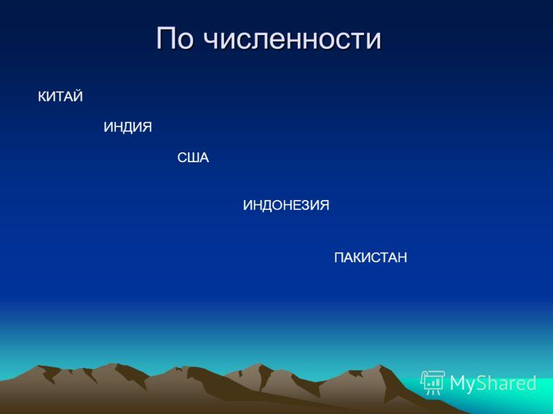 По численности КИТАЙ ИНДИЯ США ИНДОНЕЗИЯ ПАКИСТАН