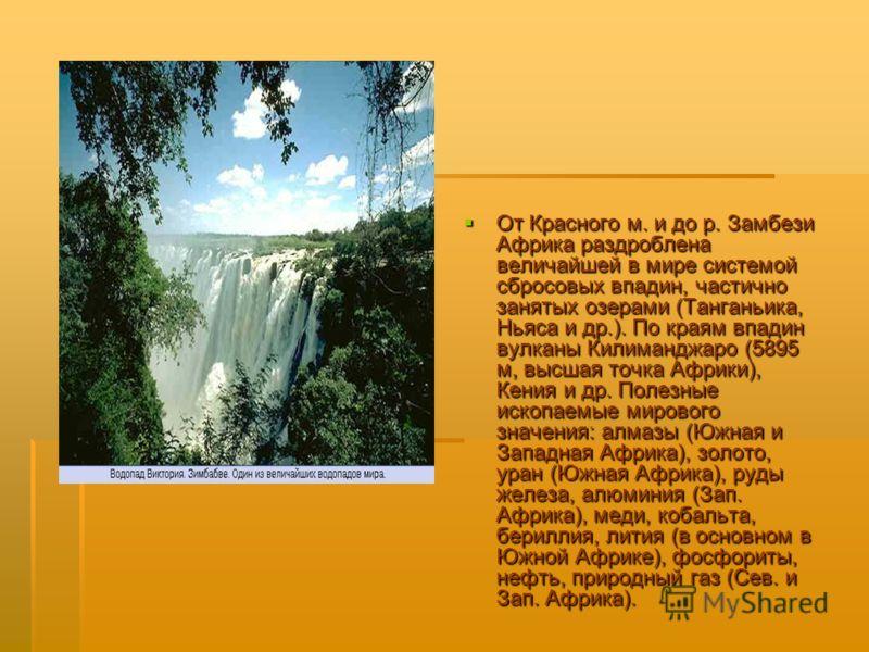 От Красного м. и до р. Замбези Африка раздроблена величайшей в мире системой сбросовых впадин, частично занятых озерами (Танганьика, Ньяса и др.). По краям впадин вулканы Килиманджаро (5895 м, высшая точка Африки), Кения и др. Полезные ископаемые мир