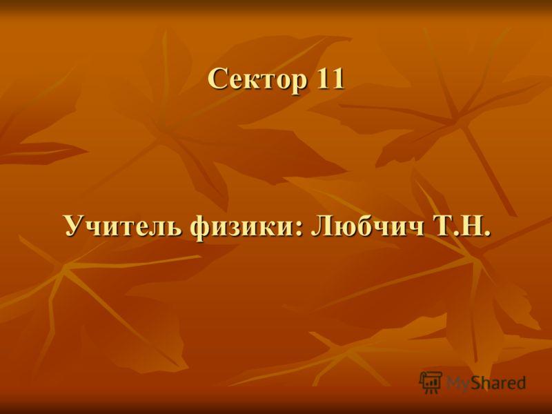 Сектор 11 Учитель физики: Любчич Т.Н.