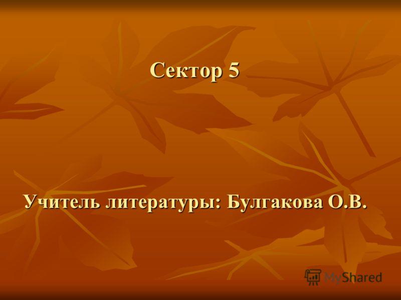 Сектор 5 Учитель литературы: Булгакова О.В.