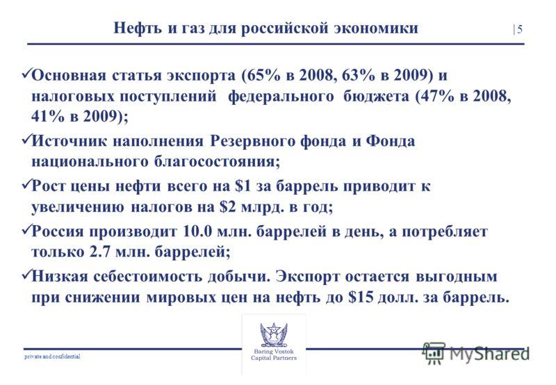 5 private and confidential Нефть и газ для российской экономики Основная статья экспорта (65% в 2008, 63% в 2009) и налоговых поступлений федерального бюджета (47% в 2008, 41% в 2009); Источник наполнения Резервного фонда и Фонда национального благос