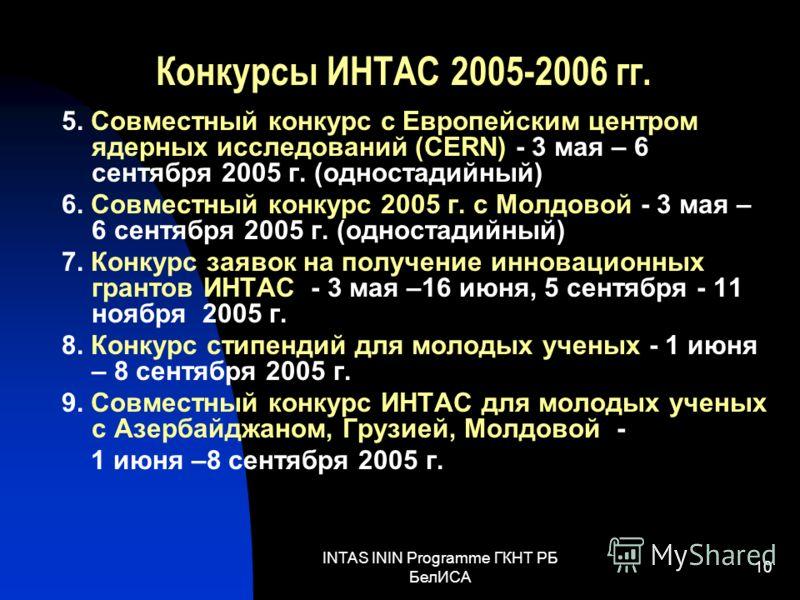 INTAS ININ Programme ГКНТ РБ БелИСА 10 Конкурсы ИНТАС 2005-2006 гг. 5. Совместный конкурс с Европейским центром ядерных исследований (CERN) - 3 мая – 6 сентября 2005 г. (одностадийный) 6. Совместный конкурс 2005 г. с Молдовой - 3 мая – 6 сентября 200