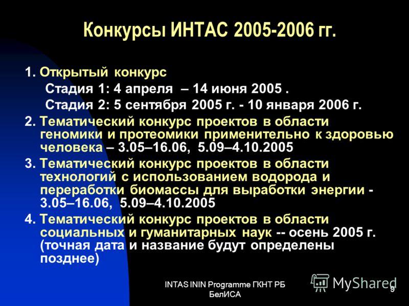 INTAS ININ Programme ГКНТ РБ БелИСА 9 Конкурсы ИНТАС 2005-2006 гг. 1. Открытый конкурс Стадия 1: 4 апреля – 14 июня 2005. Стадия 2: 5 сентября 2005 г. - 10 января 2006 г. 2. Тематический конкурс проектов в области геномики и протеомики применительно
