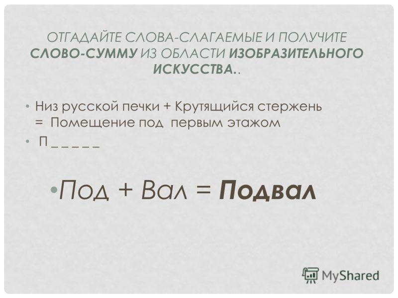 Низ русской печки + Крутящийся стержень = Помещение под первым этажом П _ _ _ _ _ Под + Вал = Подвал ОТГАДАЙТЕ СЛОВА-СЛАГАЕМЫЕ И ПОЛУЧИТЕ СЛОВО-СУММУ ИЗ ОБЛАСТИ ИЗОБРАЗИТЕЛЬНОГО ИСКУССТВА..