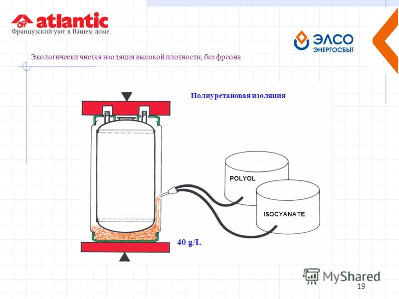 19 Экологически чистая изоляция высокой плотности, без фреона Полиуретановая изоляция POLYOL ISOCYANATE 40 g/L