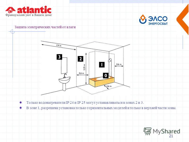 21 Защита электрических частей от влаги Только водонагреватели IP 24 и IP 25 могут устанавливаться в зонах 2 и 3. В зоне 1, разрешена установка только горизонтальных моделей и только в верхней части зоны.