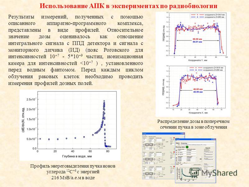 Использование АПК в экспериментах по радиобиологии Результаты измерений, полученных с помощью описанного аппаратно-программного комплекса, представлены в виде профилей. Относительное значение дозы оценивалось как отношение интегрального сигнала с ППД