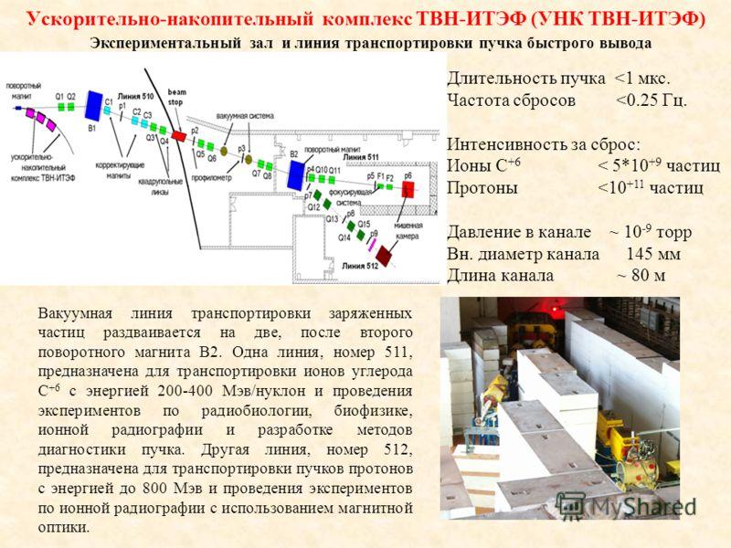 Экспериментальный зал и линия транспортировки пучка быстрого вывода Вакуумная линия транспортировки заряженных частиц раздваивается на две, после второго поворотного магнита B2. Одна линия, номер 511, предназначена для транспортировки ионов углерода