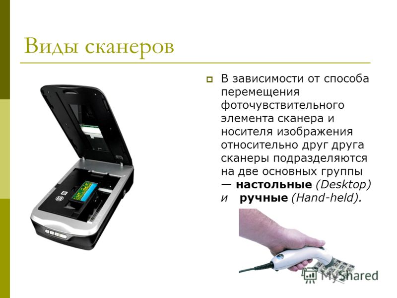 Виды сканеров В зависимости от способа перемещения фоточувствительного элемента сканера и носителя изображения относительно друг друга сканеры подразделяются на две основных группы настольные (Desktop) и ручные (Hand-held).