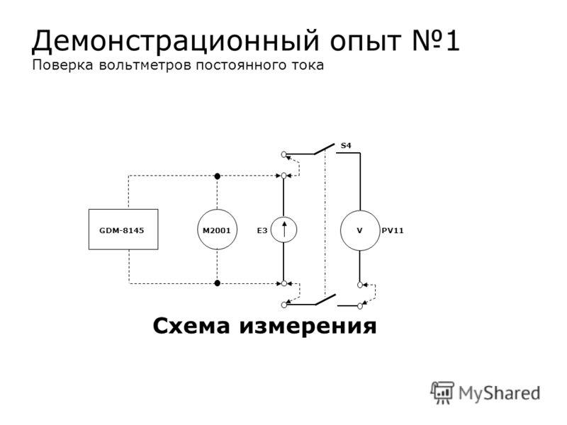 S4 GDM-8145 М2001 E3 V PV11 Схема измерения Демонстрационный опыт 1 Поверка вольтметров постоянного тока