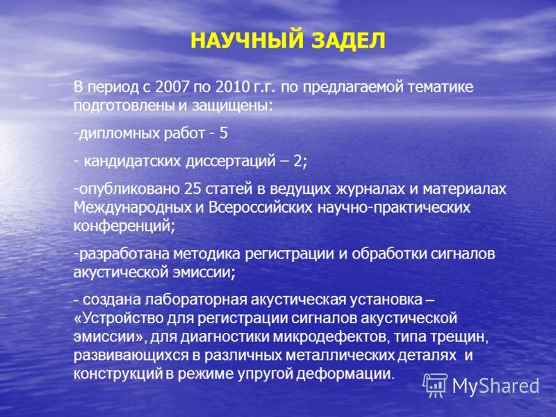 НАУЧНЫЙ ЗАДЕЛ В период с 2007 по 2010 г.г. по предлагаемой тематике подготовлены и защищены: -дипломных работ - 5 - кандидатских диссертаций – 2; -опубликовано 25 статей в ведущих журналах и материалах Международных и Всероссийских научно-практически