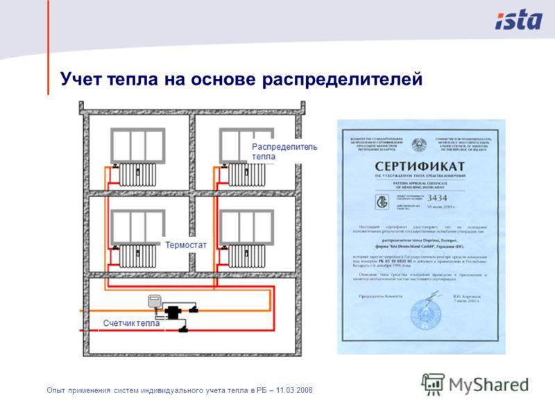 Опыт применения систем индивидуального учета тепла в РБ – 11.03.2008 Учет тепла на основе распределителей