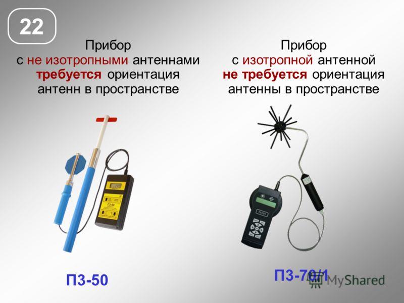 Прибор с не изотропными антеннами требуется ориентация антенн в пространстве 22 П3-50 П3-70/1 Прибор с изотропной антенной не требуется ориентация антенны в пространстве