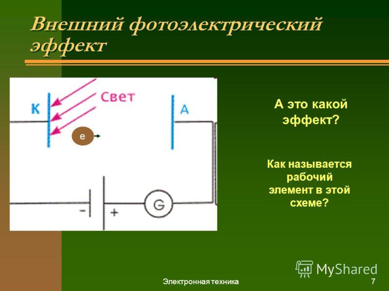 Электронная техника7 Внешний фотоэлектрический эффект е А это какой эффект? Как называется рабочий элемент в этой схеме?