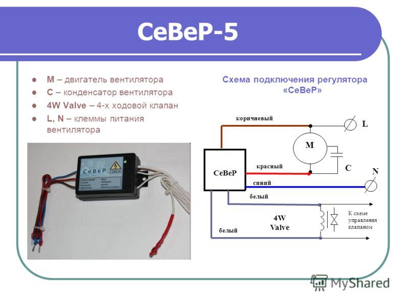 СеВеР-5 М – двигатель вентилятора С – конденсатор вентилятора 4W Valve – 4-х ходовой клапан L, N – клеммы питания вентилятора Схема подключения регулятора «СеВеР» CеВеР коричневый L М С красный синий N белый 4W Valve К схеме управления клапаном