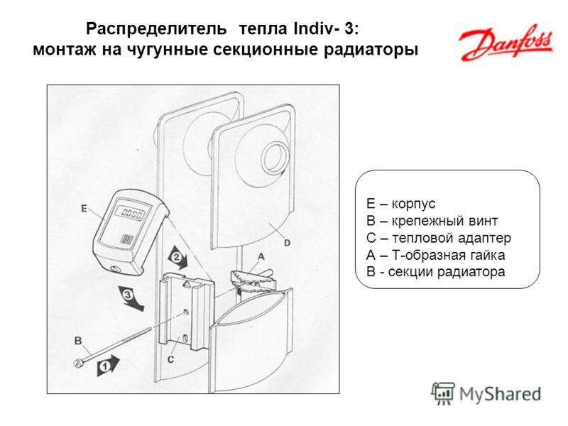Распределитель тепла Indiv- 3: монтаж на чугунные секционные радиаторы E – корпус B – крепежный винт С – тепловой адаптер А – Т-образная гайка В - секции радиатора