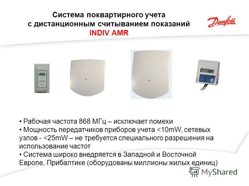 Система поквартирного учета с дистанционным считыванием показаний INDIV AMR Рабочая частота 868 МГц – исключает помехи Мощность передатчиков приборов учета
