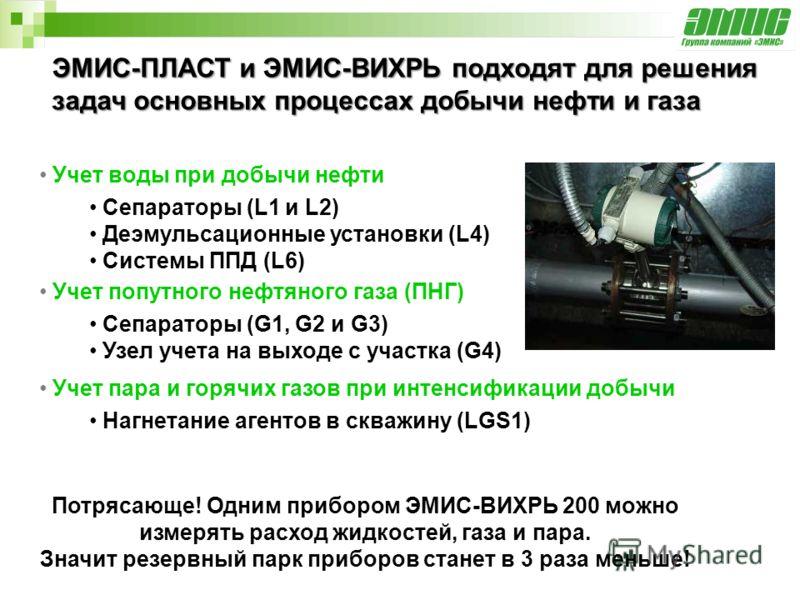 ЭМИС-ПЛАСТ и ЭМИС-ВИХРЬ подходят для решения задач основных процессах добычи нефти и газа Учет воды при добычи нефти Сепараторы (L1 и L2) Деэмульсационные установки (L4) Системы ППД (L6) Учет попутного нефтяного газа (ПНГ) Сепараторы (G1, G2 и G3) Уз