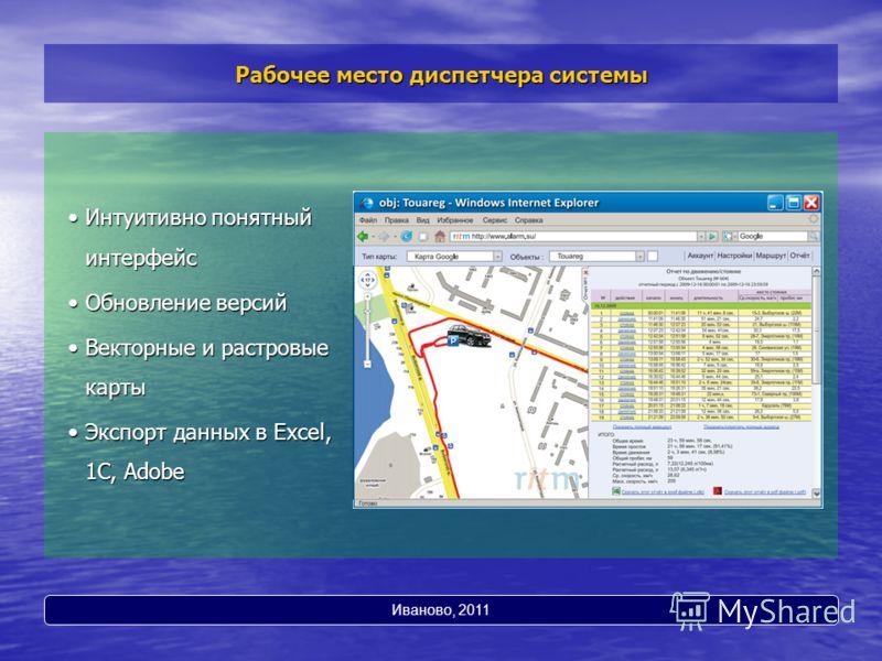 Рабочее место диспетчера системы Интуитивно понятный интерфейсИнтуитивно понятный интерфейс Обновление версийОбновление версий Векторные и растровые картыВекторные и растровые карты Экспорт данных в Excel, 1С, AdobeЭкспорт данных в Excel, 1С, Adobe И