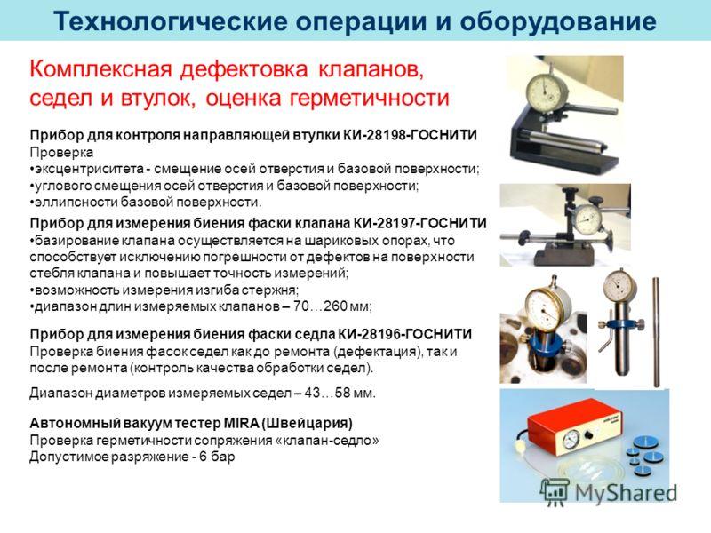 Технологические операции и оборудование Комплексная дефектовка клапанов, седел и втулок, оценка герметичности Прибор для контроля направляющей втулки КИ-28198-ГОСНИТИ Проверка эксцентриситета - смещение осей отверстия и базовой поверхности; углового
